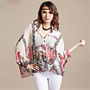 Women's Chiffon Plus Size Folk Print Shirt(Bust:Up to 130cm)