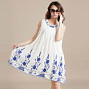 Women's Chiffon Plus Size Embroidery Dress(Bust:110-128cm,Length:75cm)