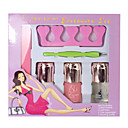 6PCS Nail Art Manicure Set(3 Nail Polish+1 Nail File+1 Toe Separator+1 Peeling Knife)