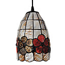40W Artistic Tiffany Pendant Light with Stained Glass Shade in Floral Design