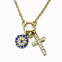 Women's Little Cross and Disk Diamond Alloy Necklace