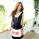 Women's Chiffon V Neck Stripe Dress
