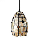 40W Artistic Single Tiffany Pendant Light with Stained Glass Shade in Blue Beads Design