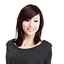 Capless Short Straight Chestnut Brown Human Hair Wigs Side Bang
