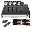 4 Channel DVR Kit with Smartphone Viewing & 4 x Outdoor Cameras(4CH D1 Recording)