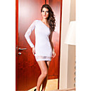 Elegant White One-shoulder Lace-Trim Dress(Length:64cm Bust:86-102cm  Waist:58-79cm  Hip:90-104cm)