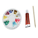 3PCS Nail Art Set(1 Nail Polish+1 Wood Stick+8-color Nail Decorations,Random Color)