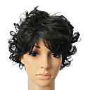 100% Human Hair Short Black Wavy Hair Wig