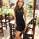 Women's Lace Splicing Bodycon Dress with Open Back
