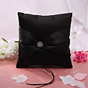 Black Wedding Ring Pillow With Rhinestone