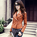 Fashion Long Sleeve Standing Collar PU Casual/Party Jacket