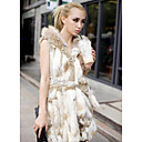 Beautiful Hood Rabbit Fur Casual/Party Vest
