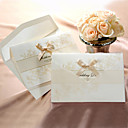 Graceful Champagne Folded Invitation With Bow (Set of 50)