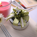 Round Favor Tin With Green Flowers And Bow (Set of 6)
