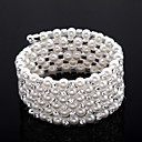  rhinestone requintado das senhoras pulseira de fita / tnis em branco prola