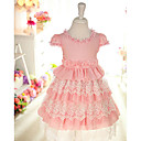Pretty Short Sleeve Cotton/Lace Wedding/Evening Flower Girl Dress
