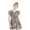 changeshe1122206046 Fashion V Neck Lotus Sleeve Foral Print Dress