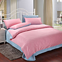 4PCS Pink & Blue Print Cotton Duvet Cover Set