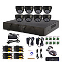 8-Kanal Home and Office DIY CCTV DVR-System (P2P Online, 8 Indoor-Dome-Kamera)