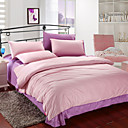 4PCS Pink & Purple Print Cotton Duvet Cover Set