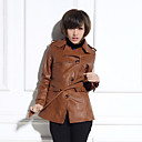 Langarm Umlegekragen PU Casual / Party-Coat